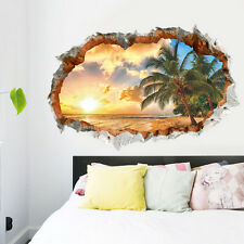 Removable 3D Beach Sunshine Wall Stickers Home Room Decor Vinyl Art Mural Decal