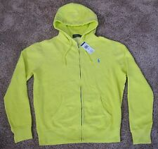 Polo Ralph Lauren NEON YELLOW FULL ZIP HOODED SWEATSHIRT Jacket MENS M MD HOODIE