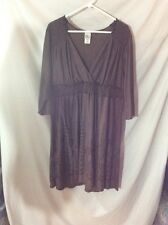 Just My Size 3/4 Sleeve Dress ~ 2X ~ V-Neck ~ Brown
