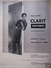 PUBLICITÉ 1959 UNE PORTE CLARIT SAINT-GOBAIN EN VERRE TRANSLUCIDE - ADVERTISING