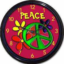 Peace Sign Flower Child Hippie Wall Clock Flowers Girl Teen Bedroom Cool New!