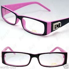 New Womens DG Clear Lens Frame Glasses Rectangular Nerdy Optical Pink Designer