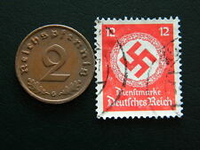 Set of Third Reich German coin - 2 pfennig and stamp with Swastika (2)