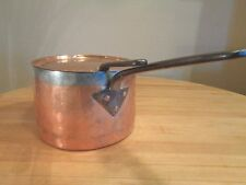"Antique Copper Sauce pot  ""S I R   B.L.G."" on base and cover 11"" diameter"