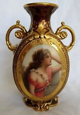 Royal Vienna 19th Century Hand Painted Porcelain Two Handle Vase Signed Wagner