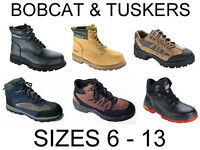 NEW BOBCAT & TUSKERS WATERPROOF SAFETY BOOTS SIZE 6 7 8 9 10 11 12 STEEL TOE CAP