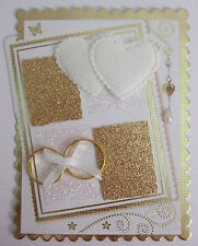 1 x Wedding card Topper Gold /White/Hearts and Wedding Rings/Hand Made