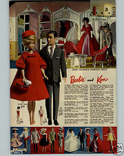 1963 PAPER AD 2 PG Barbie Ken Midge Fashion Doll Shop Dream Sports Car House