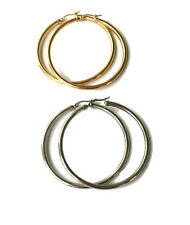 Womens Silver or Gold 5mm Large Hoop Earrings 70mm Diameter in Stainless Steel