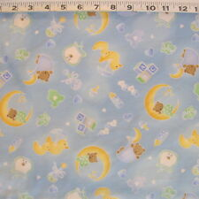 """C1346-04F  FABRI-QUILT """"Sleepy Time"""" Blue Cotton FLANNEL Baby Fabric by the Yard"""