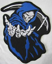Large Blue Hooded Grim Reaper Bike Motorcycle Biker Embroidered Sew Badge Patch