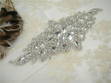 Gorgeous Wedding Applique Crystal Bridal Applique Diamante Trim Beaded Motif