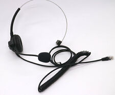 Over Head Call Center Telephone Headset Adjustable Boom Mic 4-pin RJ9 BLACK