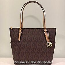NWT Michael Kors Brown MK Signature PVC Jet Set Item East West Tote Bag $248