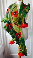 Felting Scarf Shawl Silk Wool Wraps Nuno felt poppies