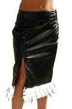 Ladies Black Gothic Leather Look Cruella De Ville PVC Knee Split Skirt Size 10