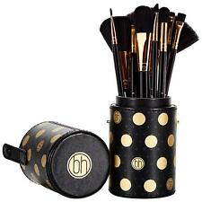 BH COSMETICS DOT COLLECTION 11 PIECE BRUSH SET BLACK GOLD CASE CUP HOLDER NEW