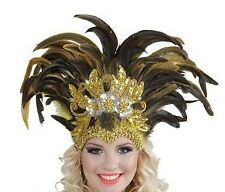 Inca Feather Cabaret Mardi Gras Showgirl Burlesque Indian Headdress Fancy Dress