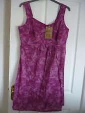 MANTARAY DARK PINK TROPICAL PRINT COTTON SUN DRESS. UK 18, EUR 44, US 14. BNWT