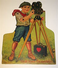 Rare Antique Movie Reel Valentine! Filming Lithograph Mechanical Holiday Card!
