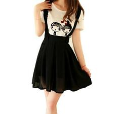 Women Girl Short Braces Skirt A-Line Dress Black Casual Chiffon Pleated Skirt