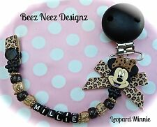 ❤ PERSONALISED  Your Name Choice ❤ Dummy Clip ❤ LEOPARD MINNIE ❤ BLACK & GOLD ❤