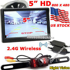 "License Plate Wireless 7 LEDs IR Night Reversing Camera +5"" Color LCD HD Monitor"
