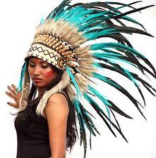 Indian headdress Green teal, feather warbonnet