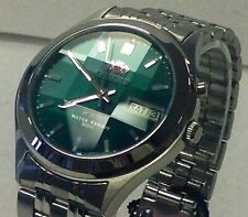 Orient Dark Green Dial Men's 9 Facet Crystal Automatic  Silver Watch  orient Box