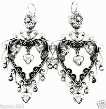TAXCO MEXICAN 925 STERLING SILVER FRIDA KAHLO STYLE HEART DECO EARRINGS MEXICO