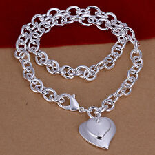 925 Sterling Silver Solid Double Heart Man Woman Chain Necklace N-A342
