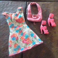 BARBIE DOLL CLOTHES - FLOWER PRINT DRESS, SHOES, PURSE