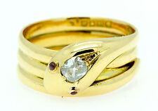 A Stunning Old Mine Cut Diamond & Ruby 18ct Yellow Gold Snake Ring Circa 1890's