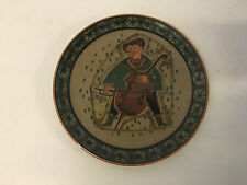 Unusual Art Pottery Ceramic Plate Figure Playing Stringed Instrument w/ Marking