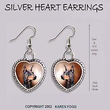 Doberman Pinscher Black Crop Ear Dobie - Heart Earrings Ornate Tibetan Silver