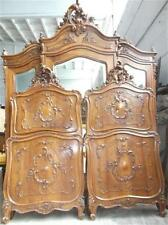 BEAUTIFUL VICTORIAN ITALIAN  ANTIQUE WALNUT CARVED BEDS   - 15IT010D