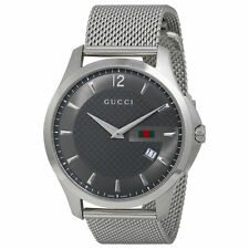 New Gucci G Timeless Anthracite Dial Stainless Steel Mens Watch YA126315