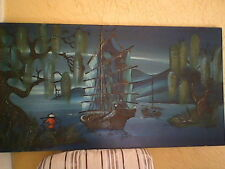 Amazing 1950s Chinese Junk Boat Seascape Painting Huge on Masonite!