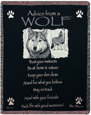 Advice From A Wolf ~ True Nature Tapestry Afghan Throw