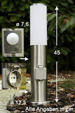 Borne d'éclairage Détecteur Lampe extérieure de jardin Lampadaire Argenté 44890