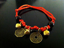 Feng Shui Lucky Red String Bracelet with coins for Good Fortune and Protection