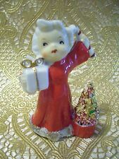 VTG Christmas Red Girl Angel Holds Candy Cane Bottle Brush Tree Figurine