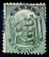 Nevis. 1861. 1sh. Green. SC# 4(?). SG# 4(?). Bluish wove(?). Discolored. Used,