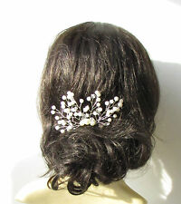 Ivory Silver Diamante Pearl Bridal Vine Hair Comb Wedding Headpiece Bead 1711
