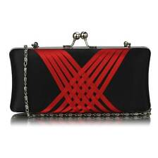 CLUTCH hand BAG WEDDING with chain satin evening black red purse 062