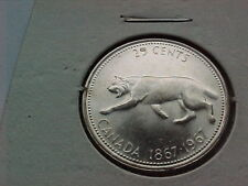 Nice SIVER CANADIAN 1867-1967 SILVER 25 CENT WITH BOBCAT