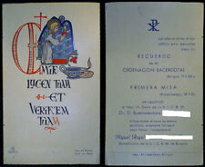 OLD PRIESTLY ORDINATION AND FIRST MASS HOLY CARD . 1955 . SEE MY EBAY SHOP C262