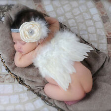 Newborn Baby Girl  Feather Angel Wing +Flower Headband Photography Props Outfits