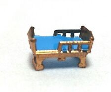"Miniature .5"" Doll House Baby Crib Teal Lining Metal (brass / copper) Model"