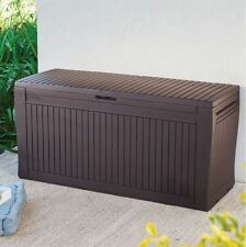 Wood Effect Plastic Patio Cushion Storage Box Garden Cushions Box Outdoor Brown